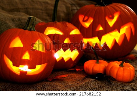 Group of spooky Halloween Jack o Lanterns - stock photo