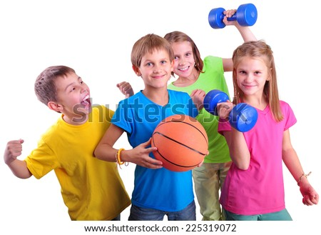 Group of sporty children friends with dumbbells and ball isolated over white . Childhood, happiness, active sports lifestyle concept - stock photo