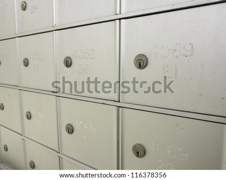 Group of square locked mailbox background - stock photo