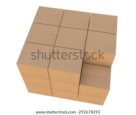 group of stacked corrugated cardboard boxes, without one box - top view - stock photo