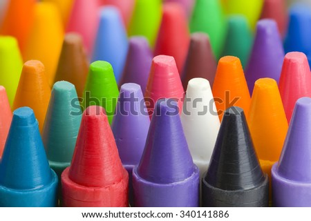 Group of Stacked Pile of Crayons Top View. - stock photo