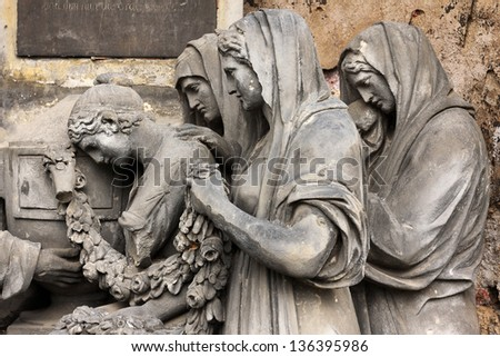 Group of Statues from the old Prague Cemetery, Czech Republic