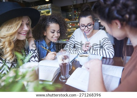 Group of students preparing for exams - stock photo