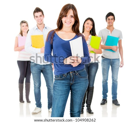 Group of students smiling - isolated over a white background - stock photo