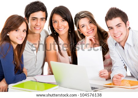 Group of students studying together - isolated over white