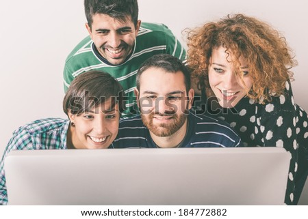 Group of Students with Computer - stock photo
