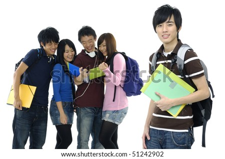 Group Of students with notebooks and paper folders posing - stock photo