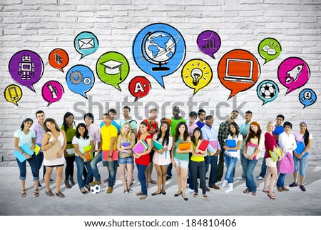 Group of students with speech bubbles. - stock photo