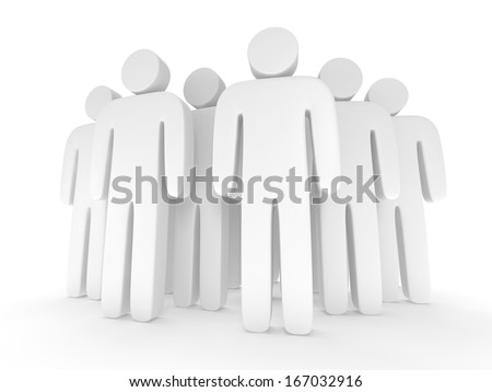 Group of stylized blank people stand on white. Isolated 3d render icon. Teamwork, business, crowd concept.