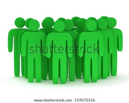 Group of stylized green people stand on white. Isolated 3d render icon. Teamwork, business concept. - stock photo