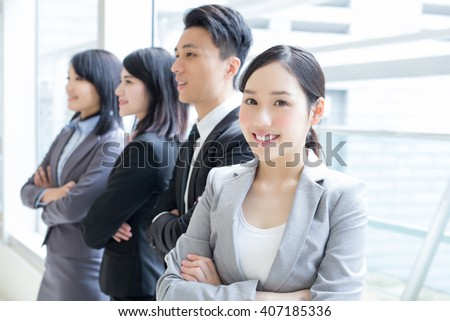 Group of success business people team in office, asian - stock photo