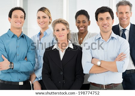 Group Of Successful Multi Ethnic Businesspeople Standing Together - stock photo