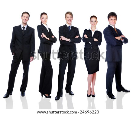 Group of successful smiling business  people  - isolated on white. - stock photo