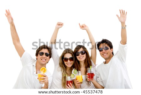 Group of summer people with a cocktail isolated over a white background - stock photo