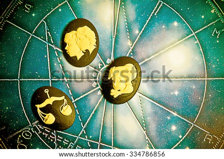 group of symbols of astrology signs of air - stock photo
