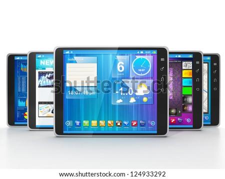 Group of Tablet Computers on white background frontally. Different applications for Tablet PCs - stock photo