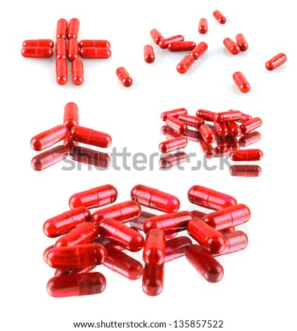 group of tablets on a white background - stock photo