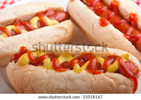 group of tasty hot dogs - stock photo