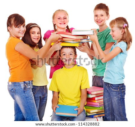 Group of teen school child with book.  Isolated. - stock photo