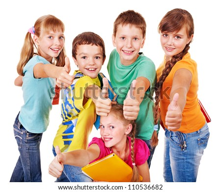 Group of teen school child with book thumb up.  Isolated. - stock photo