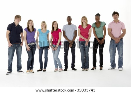 Group Of Teenage Friends In Studio - stock photo