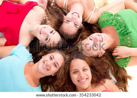 group of teenage girls isolated in white background