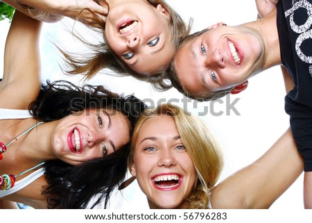 group of teenager boys and girls in - stock photo