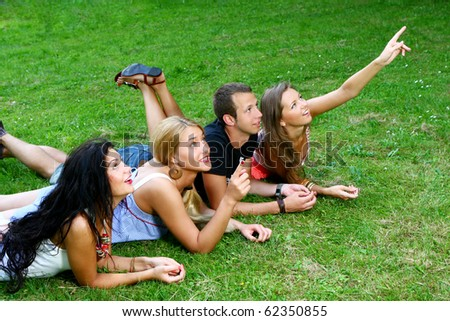 group of teenagers boys and girls in the park