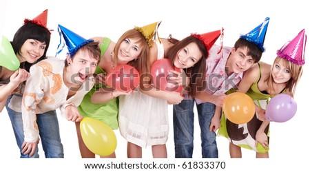 Group of teenagers celebrate birthday. Isolated. - stock photo