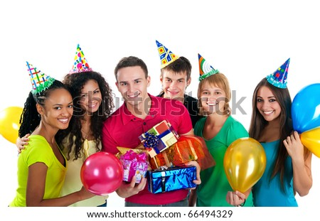 Group of teenagers celebrate birthday. Isolated over white  background - stock photo