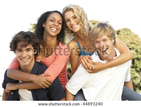 Group Of Teenagers Having Fun - stock photo