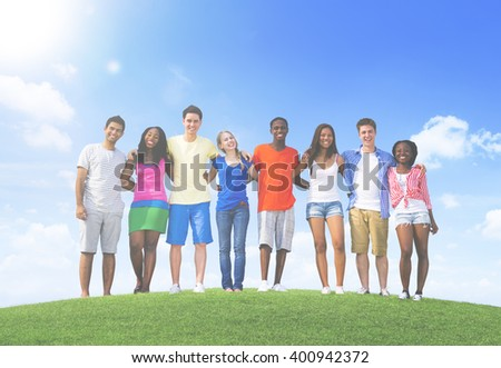 Group of Teenagers Having Fun Hill Concept