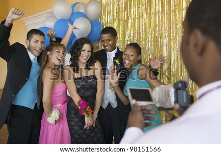 Group of Teenagers Posing for Camera - stock photo