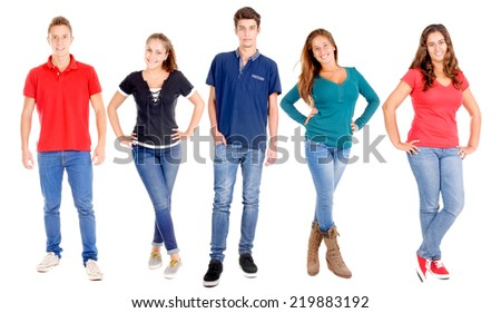 group of teenagers posing isolated in white - stock photo