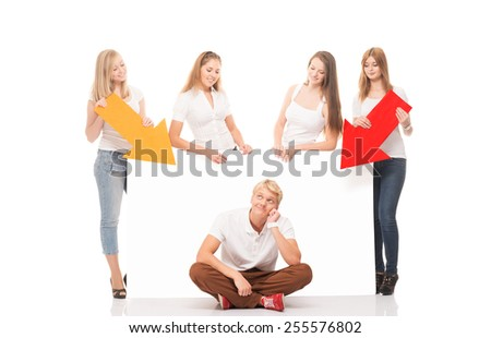 Group of teenagers with a blank, white billboard isolated on white