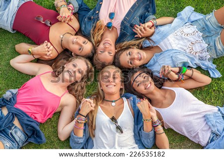 group of teens happy smiles