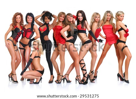 Group of ten beautiful young women poses in front of the chamber in full growth, isolated on a white background, please see some of my other parts of a body images: - stock photo