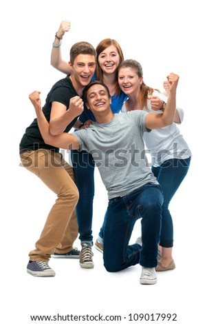 group of the college students  on a white background - stock photo