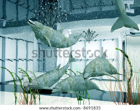 group of the dolphins in modern shop interior (3D) - stock photo