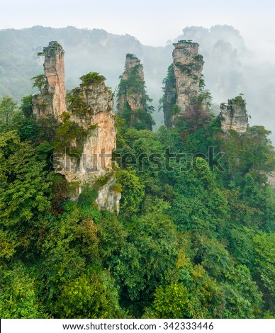 Group of the rock column mountain (Avatar rocks). Zhangjiajie National Forest Park was officially recognized as a UNESCO World Heritage Site - China - stock photo