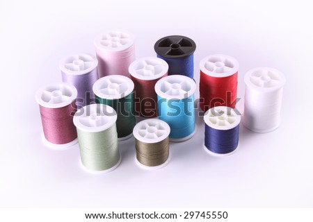 Group of thead spools - stock photo