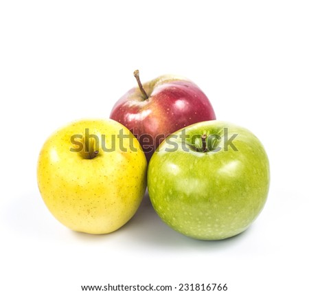 group of three apples of different colors
