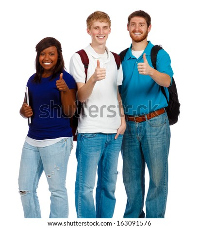 Group of three college students or friends with the thumbs up sign