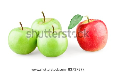 Group of three green apples and single red apple with leaf on white background