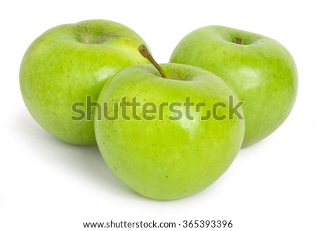 Group of three green apples isolated on white background.