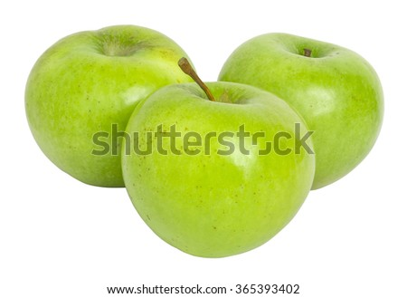 Group of three green apples isolated on white background. Masked