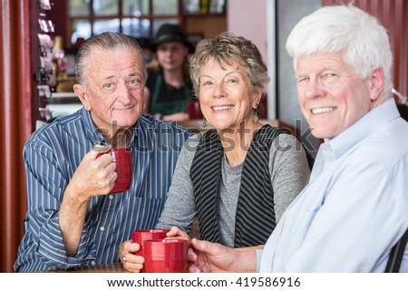 Group of three mature friends in a coffee house - stock photo