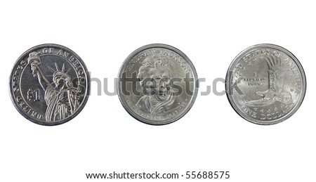 Group of three one dollar coins isolated on white - stock photo