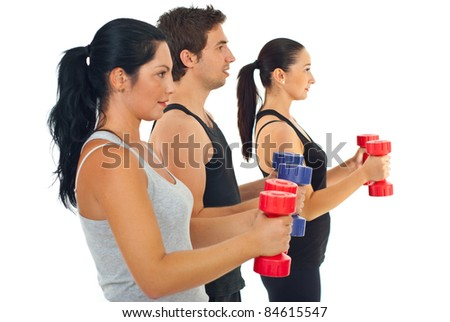 Group of three people doing fitness exercises with barbell against white background - stock photo