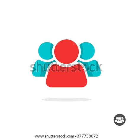 Group of three people logo sign, share icon symbol, button, abstract family, team lead, leader, friends, teamwork, union, cooperation, support modern social flat colorful icon design isolated image - stock photo
